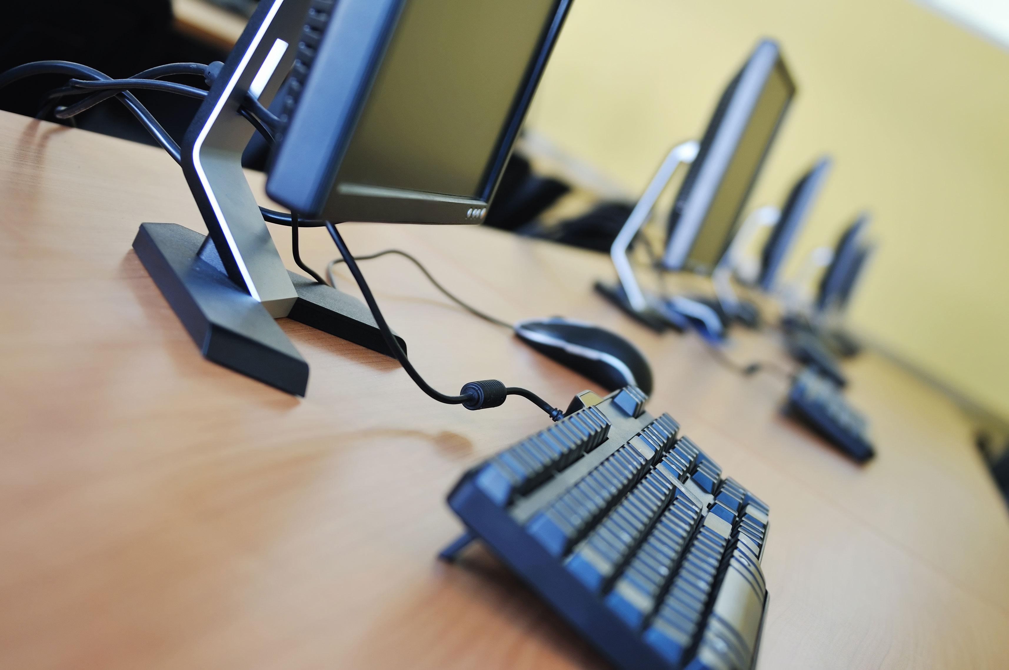 Monitors on desk